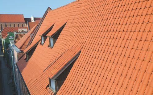Granary in Torun Poland with natural Monk Nun roof tile