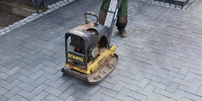vibrator, construction worker, paver, paving stone, penter, brick, compaction, compression