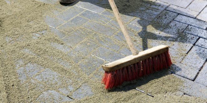 filling, joint, sand, broom, brick, paver, paving stone